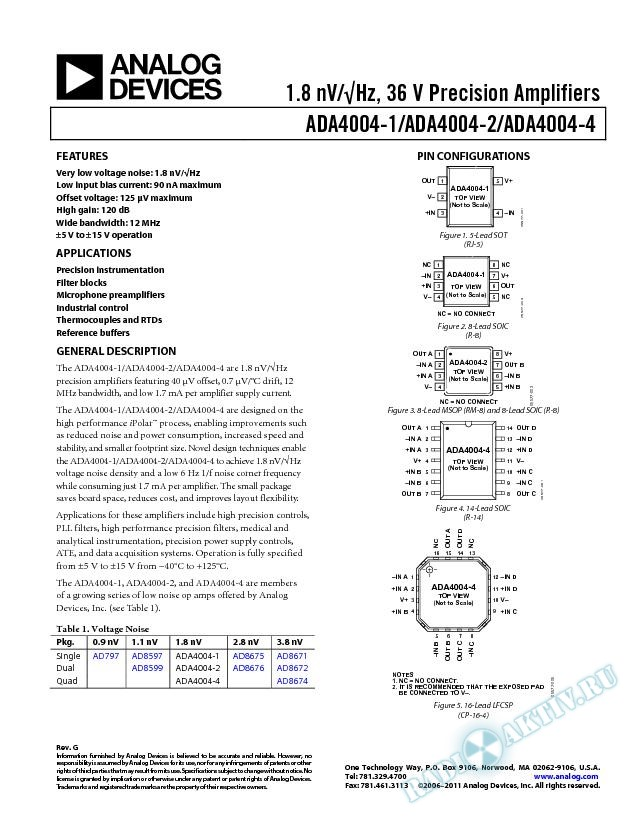 ADA4004-1/ADA4004-2/ADA4004-4