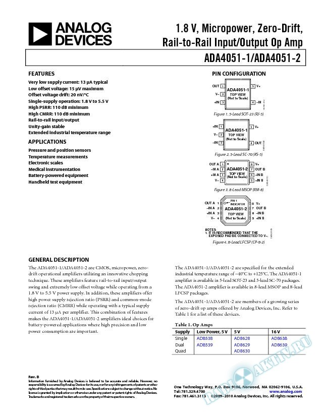 ADA4051-1/ADA4051-2