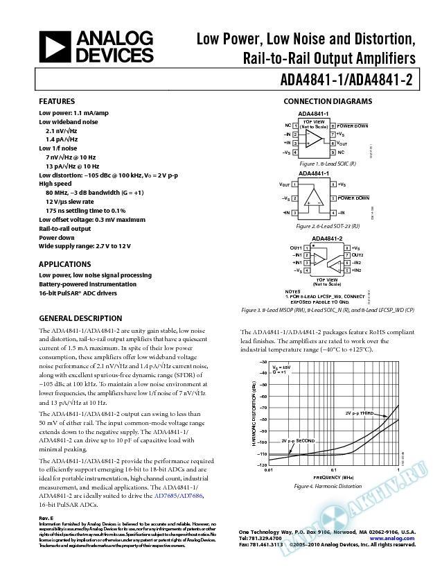 ADA4841-1/ADA4841-2