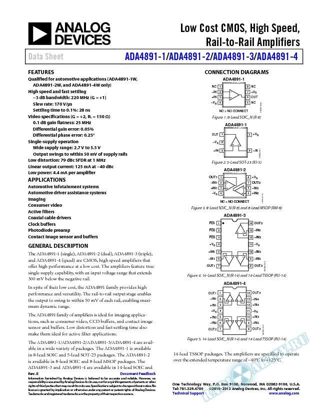 ADA4891-1/ADA4891-2/ADA4891-3/ADA4891-4