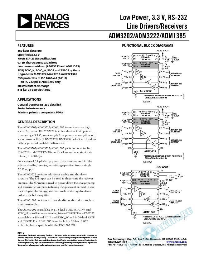 ADM3202/ADM3222/ADM1385
