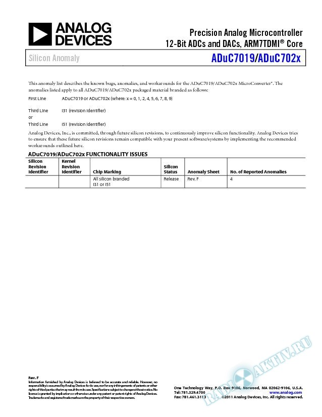 ADuC7019/ADuC702X