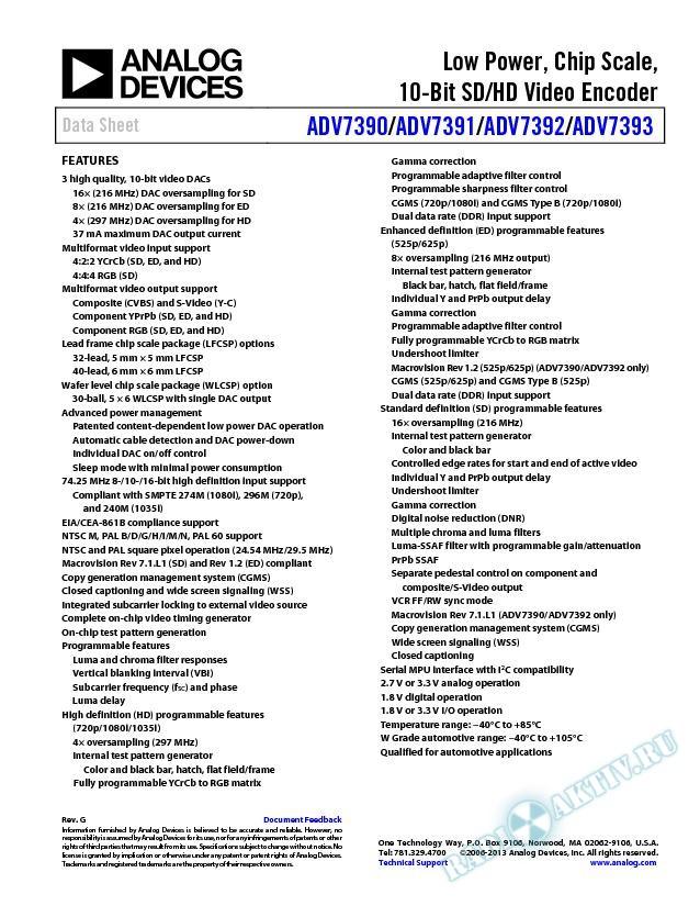 ADV7390/ADV7391/ADV7392/ADV7393