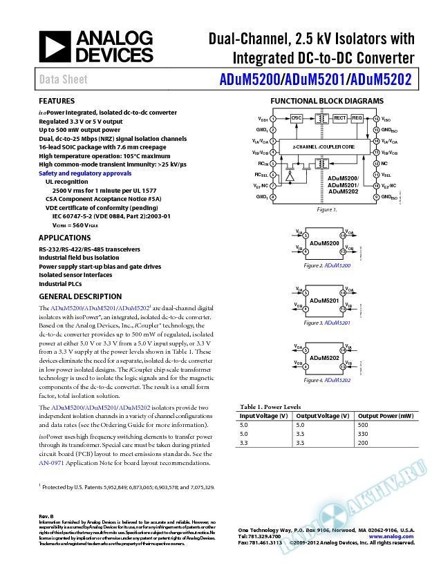 ADuM5200/ADuM5201/ADuM5202