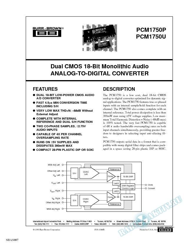 Dual CMOS 18-Bit Monolithic Audio A/D Converter