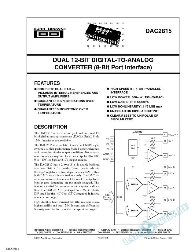 Dual 12-Bit Digital-to-Analog Converter (8-Bit Port Interface)