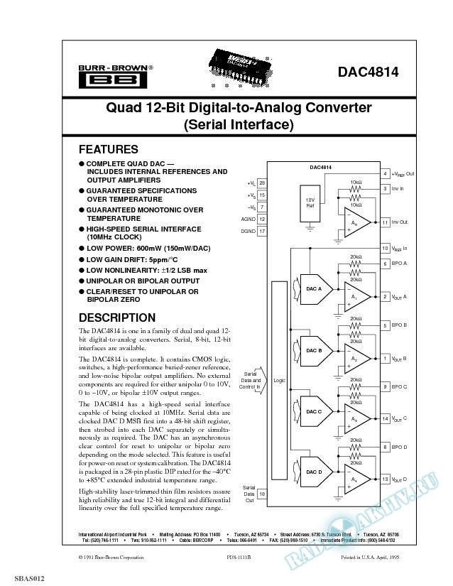 Quad 12-Bit Digital-to-Analog Converter (Serial Interface)