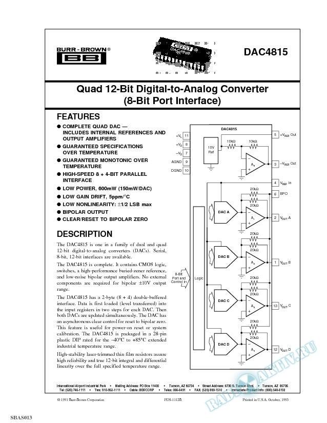 Quad 12-Bit Digital-to-Analog Converter (8-Bit Port Interface)