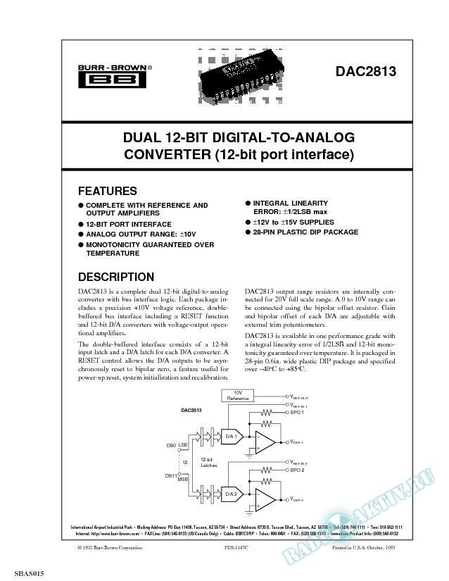 Dual 12-Bit Digital-To-Analog Converter (12-Bit Port Interface)