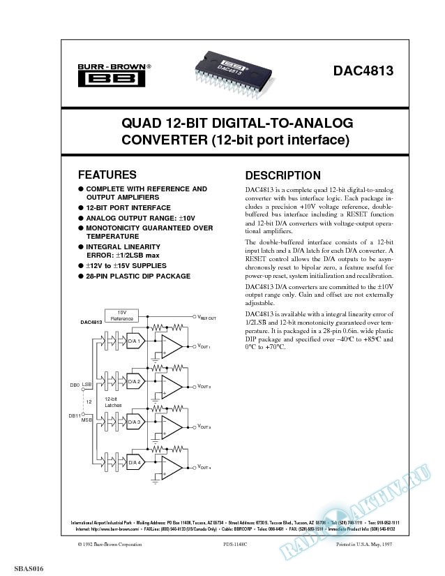 Quad 12-Bit Digital-to-Analog Converter (12-bit port interface)