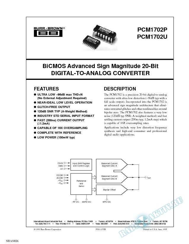 BiCMOS Advanced Sign Magnitude 20-Bit D/A Converter