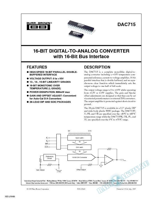 16-Bit Digital-to-Analog Converter with 16-Bit Bus Interface