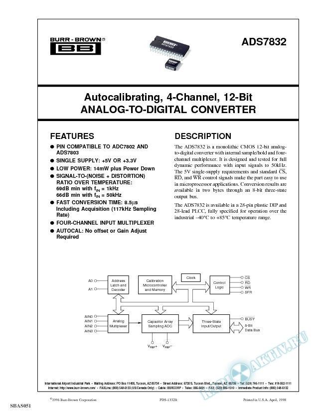 Autocalibrating, 4-Channel, 12-Bit Analog-to-Digital Converter