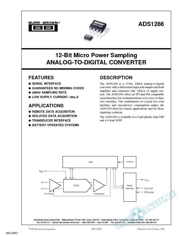 12-Bit Micro Power Sampling Analog-To-Digital Converter
