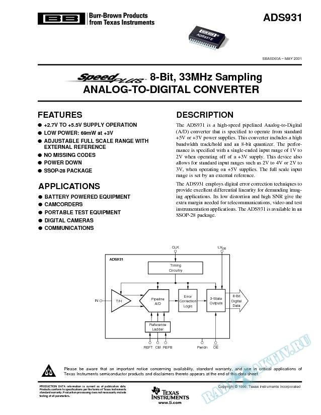 ADS931: SpeedPlus 8-Bit, 30MHz Sampling Analog-To-Digital Converter (Rev. A)