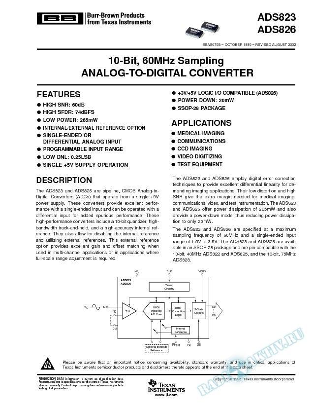 ADS823, ADS826: 10-Bit, 60MHz Sampling Analog-To-Digital Converter (Rev. B)