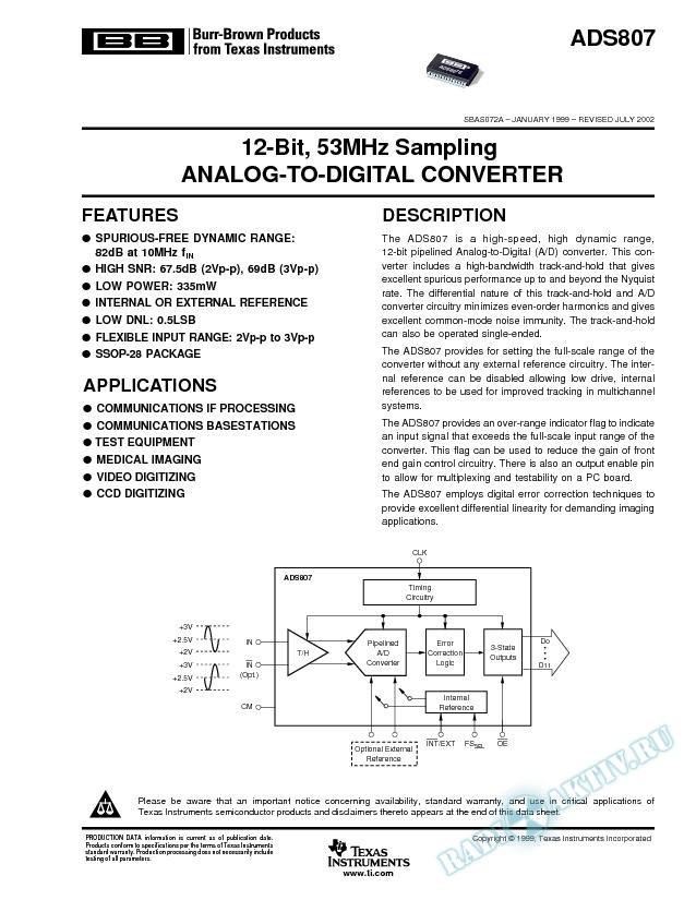 ADS807: 12-Bit, 53MHz Sampling Analog-To-Digital Converter (Rev. A)