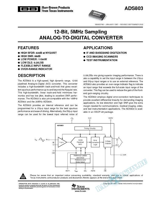 ADS803: 12-Bit, 5MHz Sampling Analog-To-Digital Converter (Rev. B)