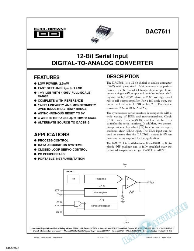 12-Bit Serial Input Digital-To-Analog Converter