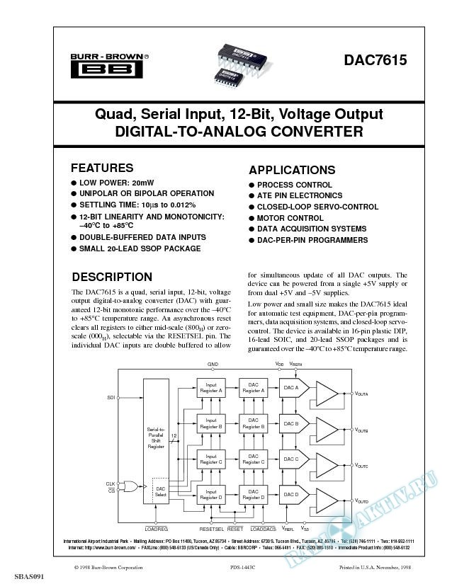 Quad, Serial Input, 12-Bit, Voltage Output Digital-To-Analog Converter