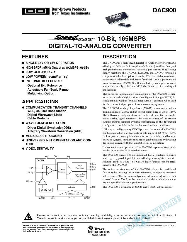 DAC900: 10-Bit, 165MSPS Digital-to-Analog Converters (Rev. B)