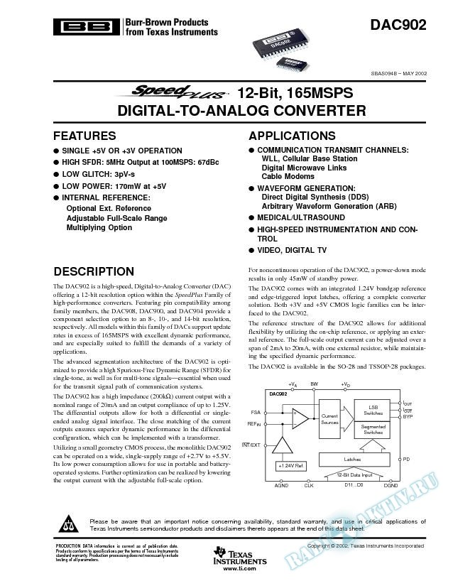 SpeedPlus 12-Bit, 165MSPS Digital-to-Analog Converters (Rev. B)