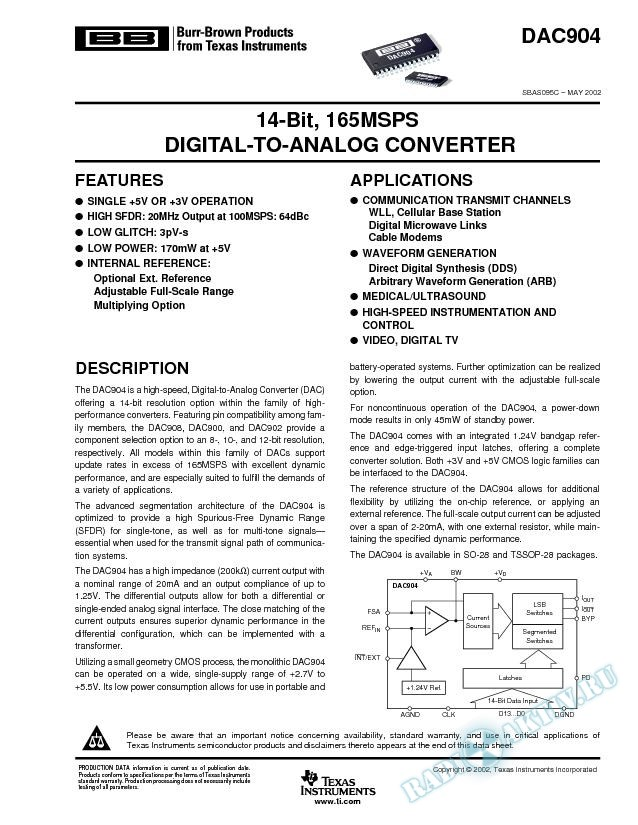 DAC904: 14-Bit, 165MSPS Digital-to-Analog Converters (Rev. C)
