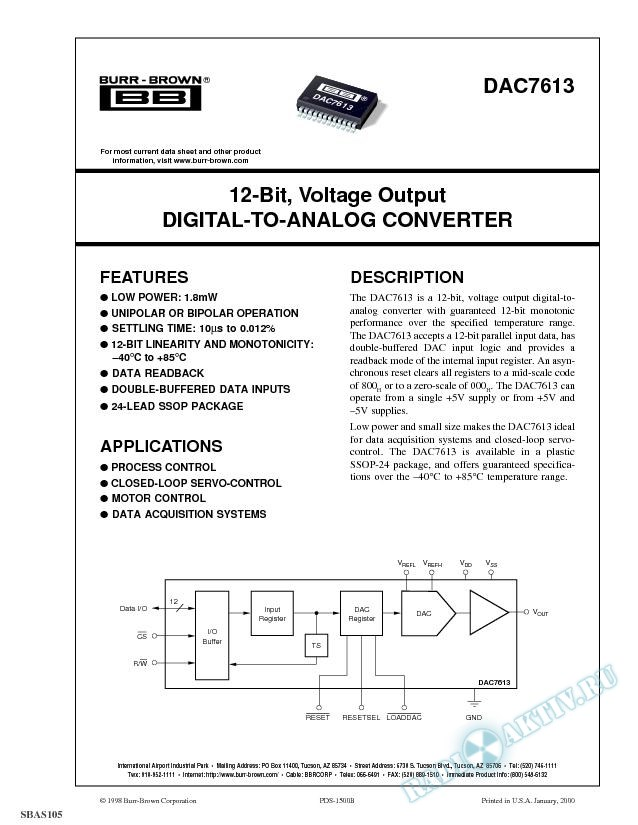 12-Bit, Voltage Output Digital-To-Analog Converter