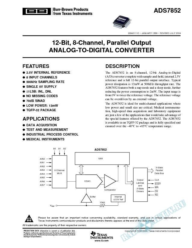 ADS7852: 12-Bit, 8-Channel, Parallel Output Analog-to-Digital Converter (Rev. C)