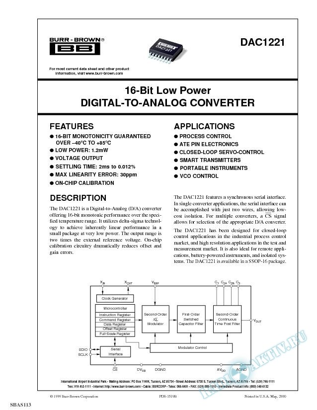 16-Bit Low Power Digital-To-Analog Converter