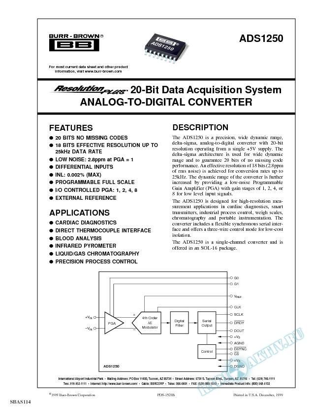 ResolutionPlus 20-Bit Data Acquisition System Analog-to-Digital Converter
