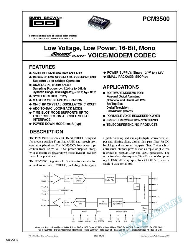 Low Voltage, Low Power, 16-Bit, Mono SoundPlus VOICE/MODEM CODEC