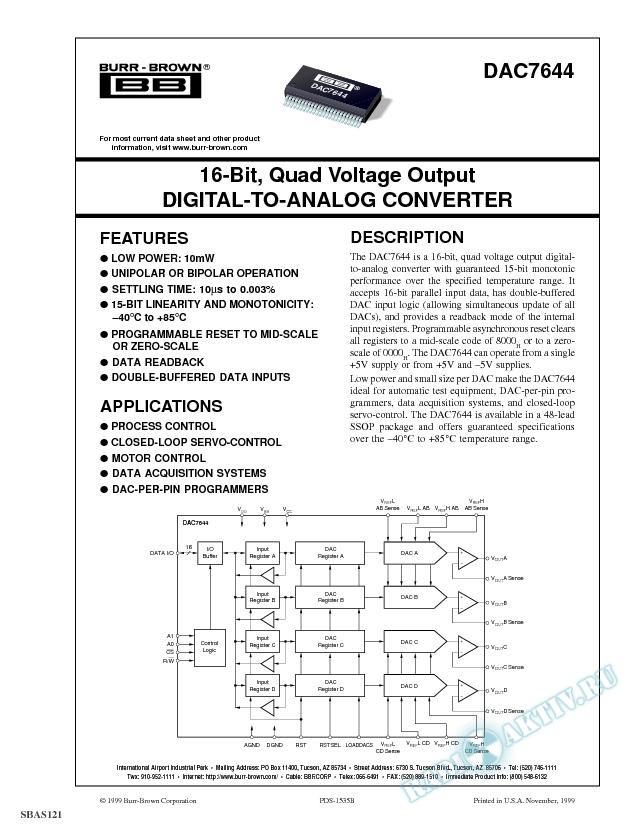 16-Bit, Quad Voltage Output Digital-to-Analog Converter