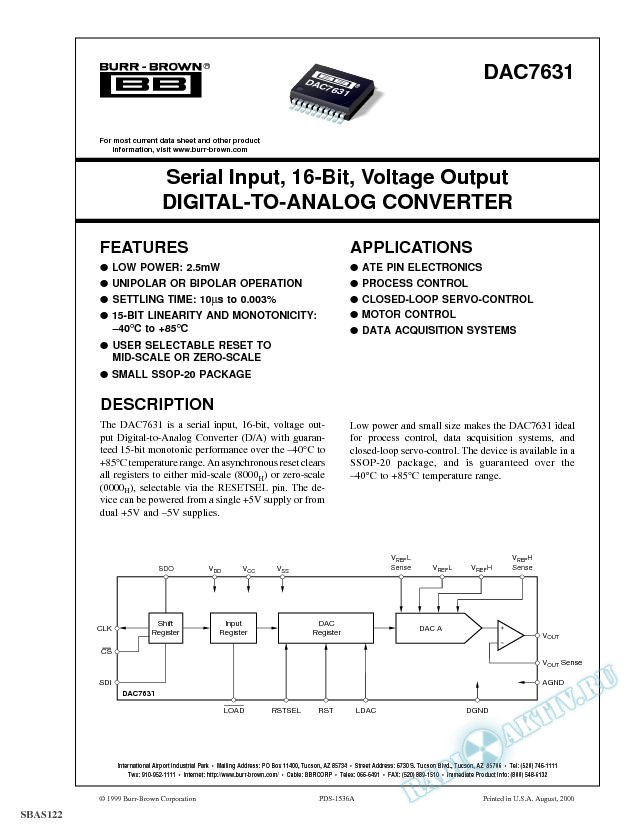 Serial Input, 16-Bit, Voltage Output Digital-to-Analog Converter