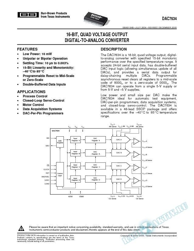 16-Bit, Quad Voltage Output Digital-to-Analog Converter (Rev. B)
