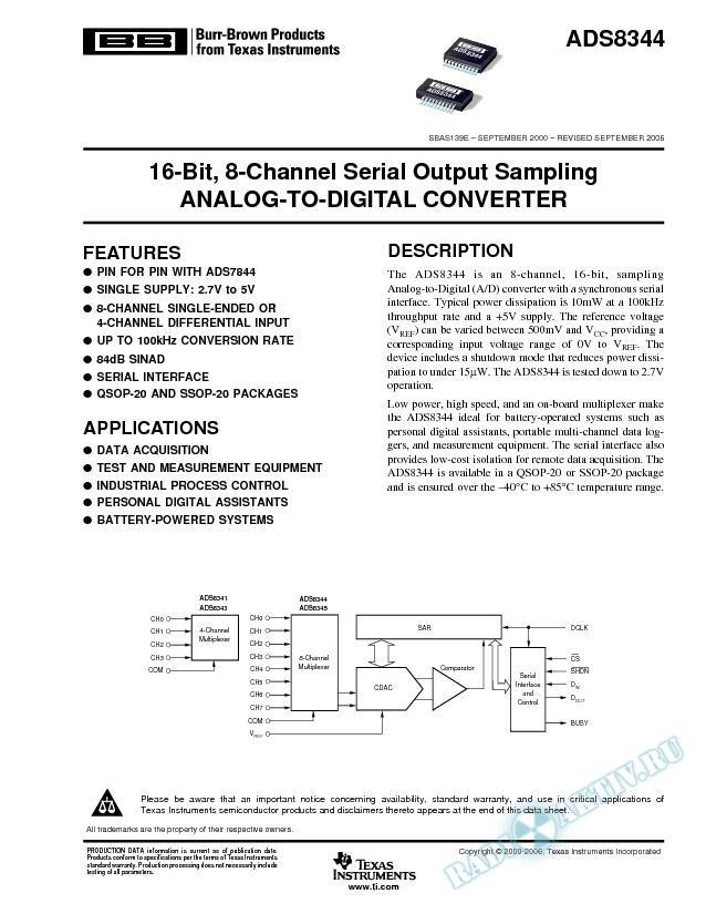16-Bit, 8-Channel Serial Output Sampling Analog-to-Digital Converter (Rev. E)