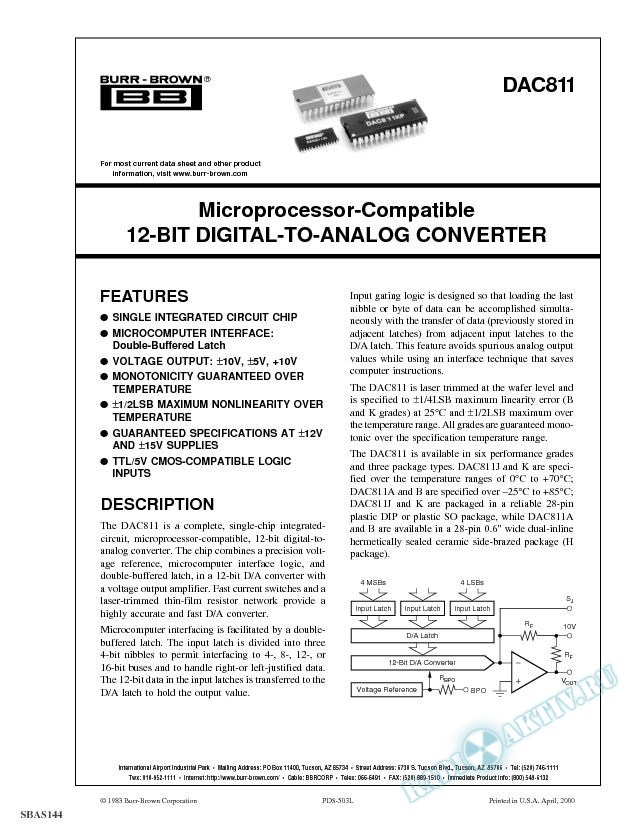 Microprocessor-Compatible 12-Bit Digital-to-Analog Converter