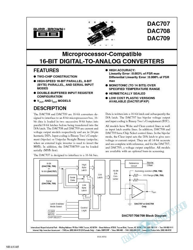 Microprocessor-Compatible 16-Bit Digital-to-Analog Converter