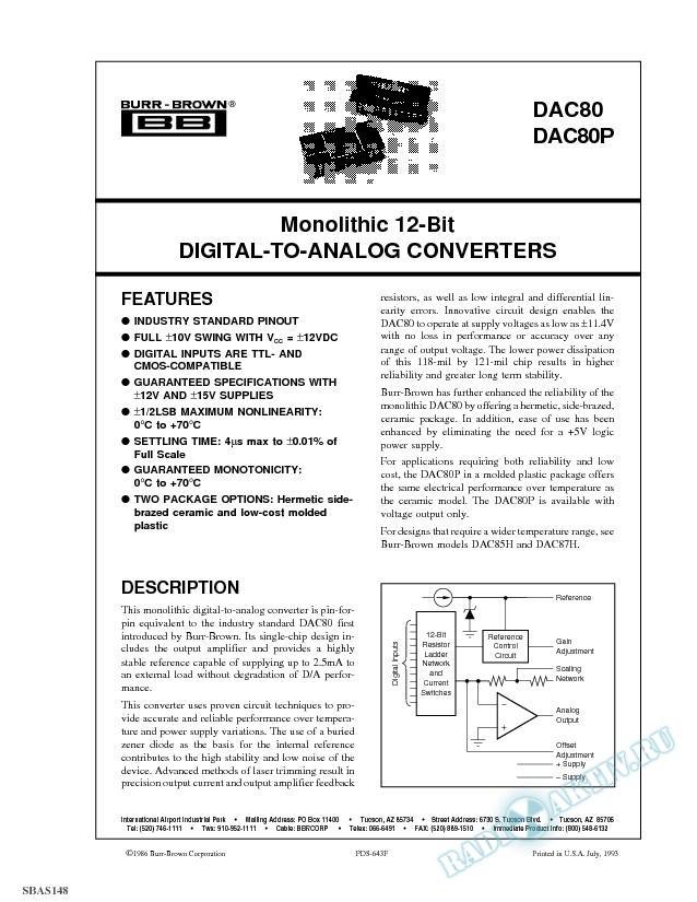 Monolithic 12-Bit Digital-to-Analog Converters