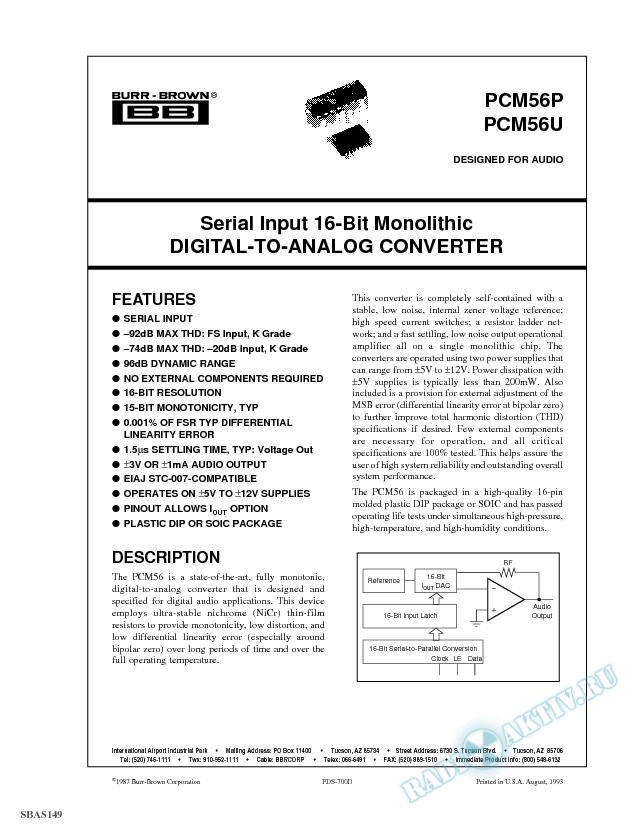 Series Input 16-Bit Monolithic Digital-to-Analog Converter