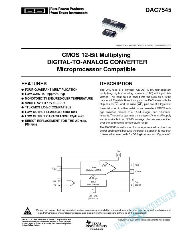 DAC7545: CMOS 12-Bit Multiplying D/A Converter, Microprocessor Compatible (Rev. A)