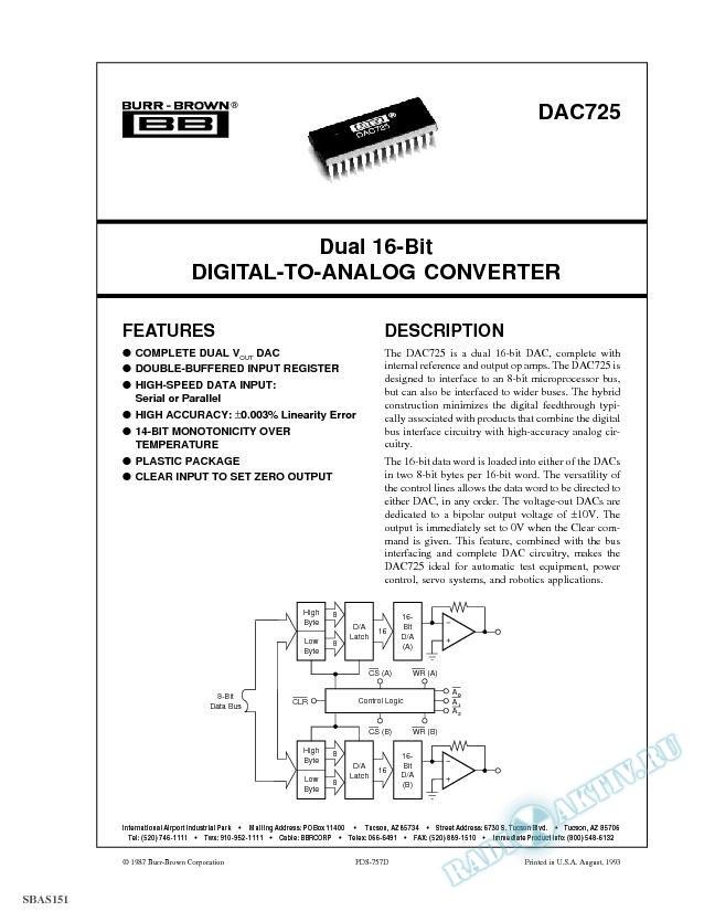 Dual 16-Bit Digital-to-Analog Converter