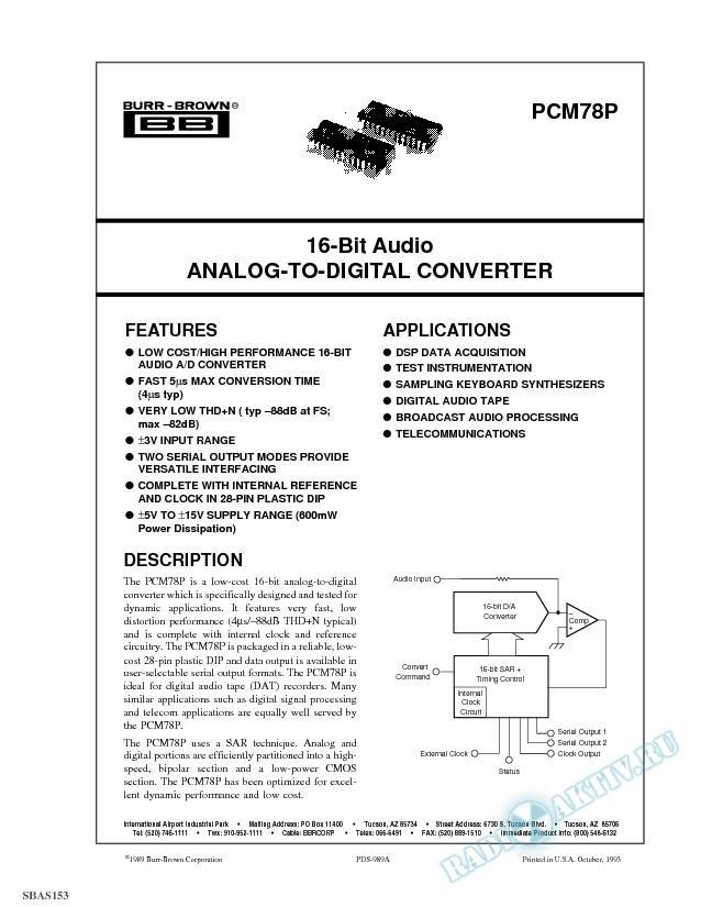 16-Bit Audio Analog-to-Digital Converter