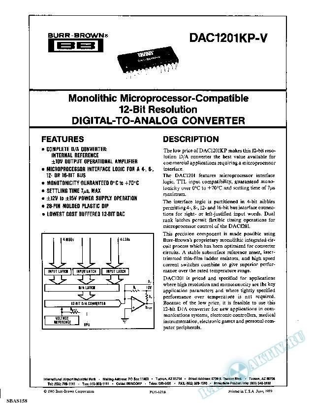 Monolithic Microprocessor-Compatible 12-Bit Resolution Digital-to-Analog Convert