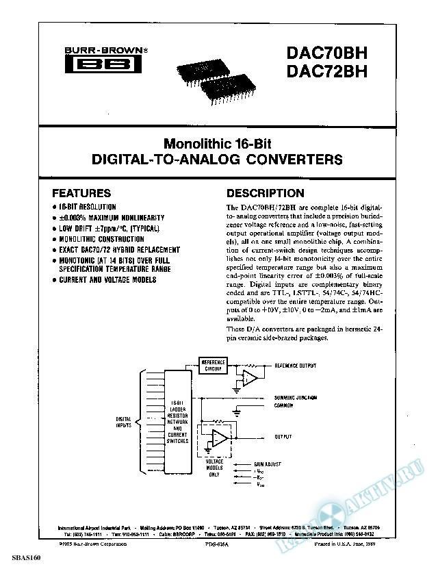 Monolithic 16-Bit DIGITAL-TO-ANALOG CONVERTERS