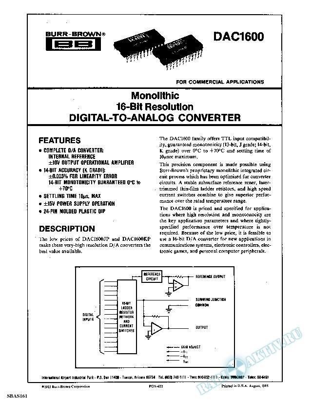 Monolithic 16-Bit Resolution DIGITAL-TO-ANALOG CONVERTER