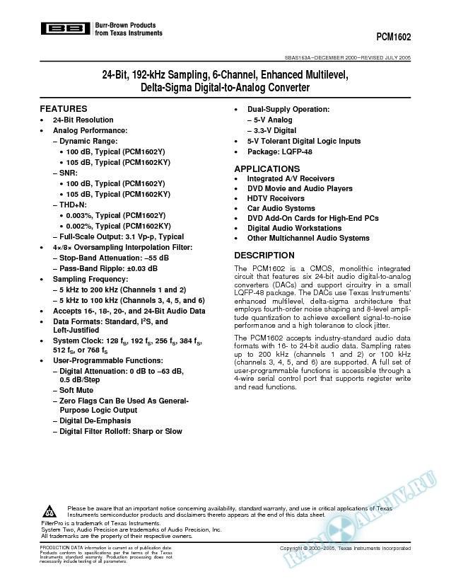 24-Bit 192kHz Sampling 6-Ch Enhanced Multilevel Delta-Sigma DAC (Rev. A)