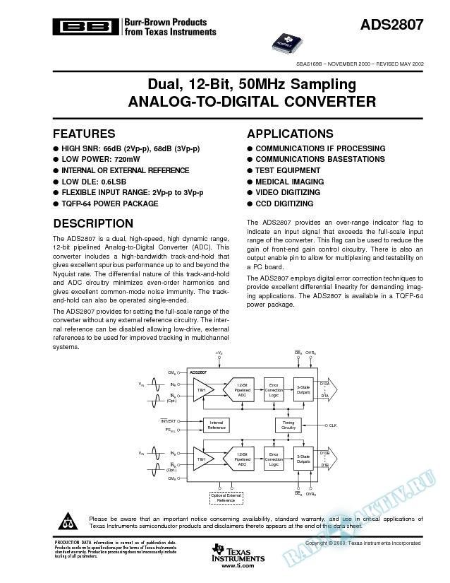 ADS2807: Dual, 12-Bit, 50Mhz Sampling, Analog-to-Digital Converter (Rev. B)
