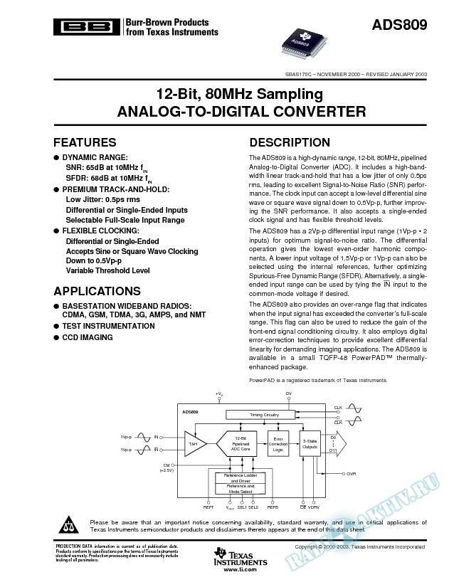 ADS809: 12-Bit, 80MHz Sampling, Analog-to-Digital Converter (Rev. C)