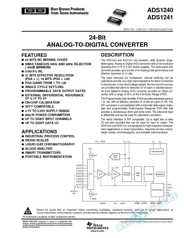 24-Bit Analog-to-Digital Converter (Rev. E)